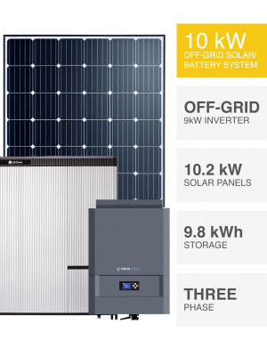 3 Phase 10kW Off Grid Solar System with Battery Backup