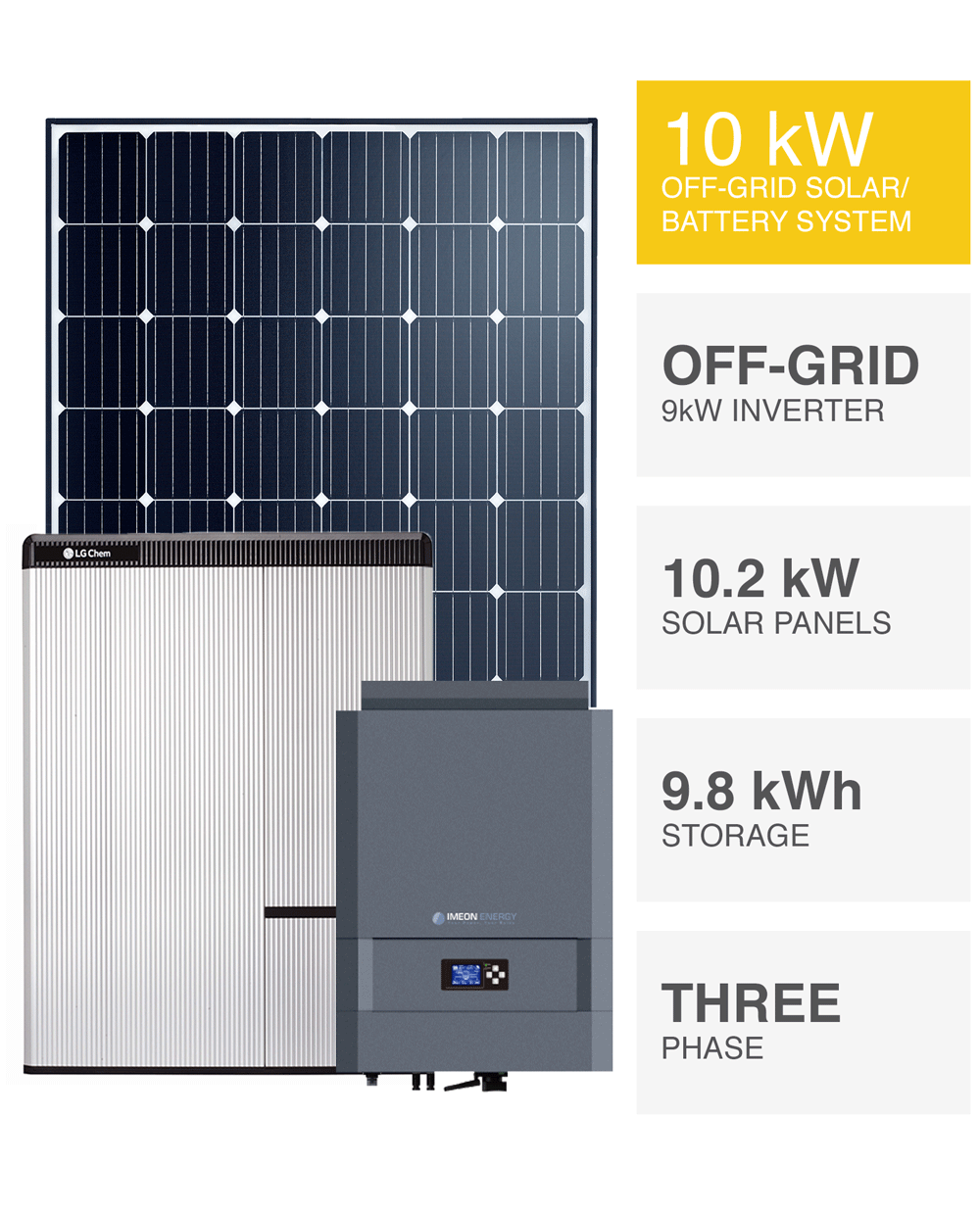 3-Phase 10kW Off-grid Solar System, SAVE MORE (installed