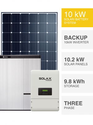 3 Phase 10kW Solar System with Battery Backup