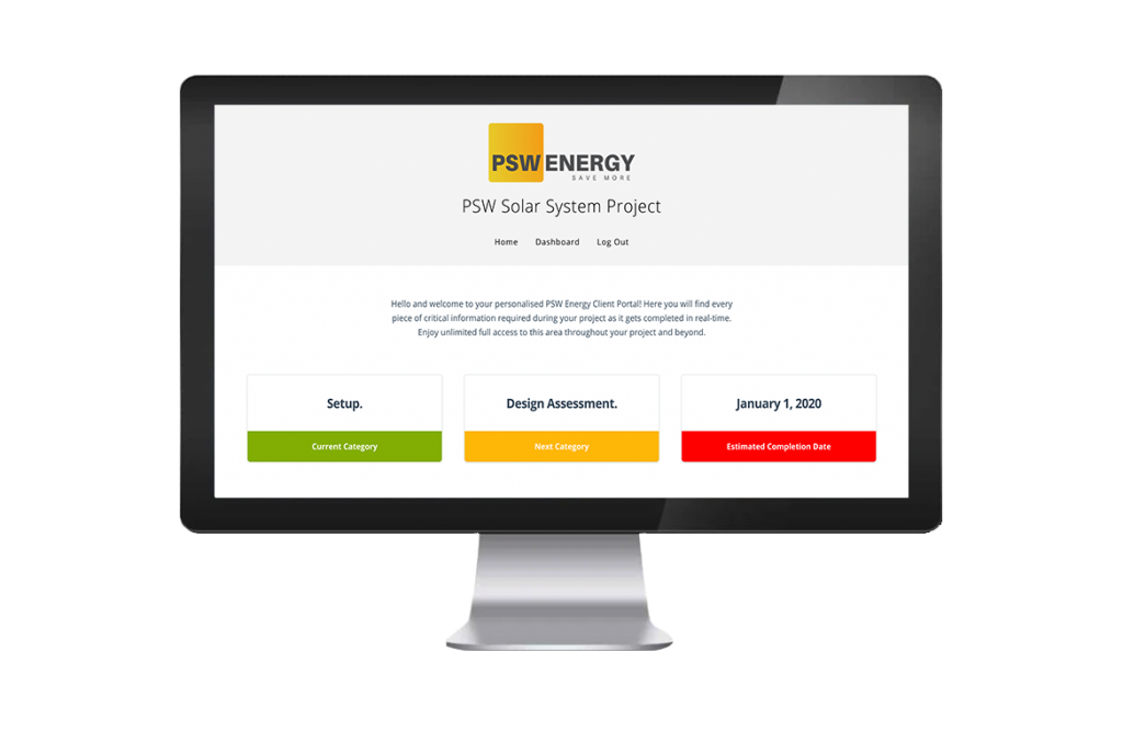 PSW Energy Client Portal Screen