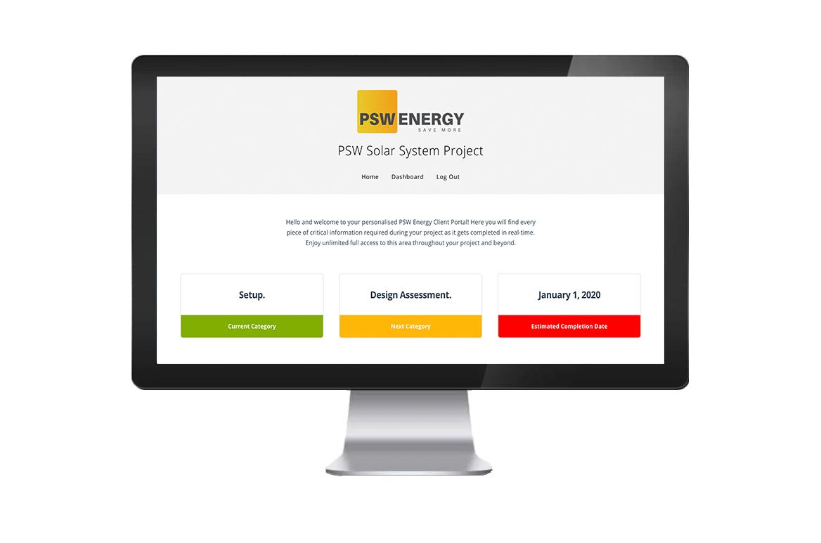 PSW Energy Client Portal Screen