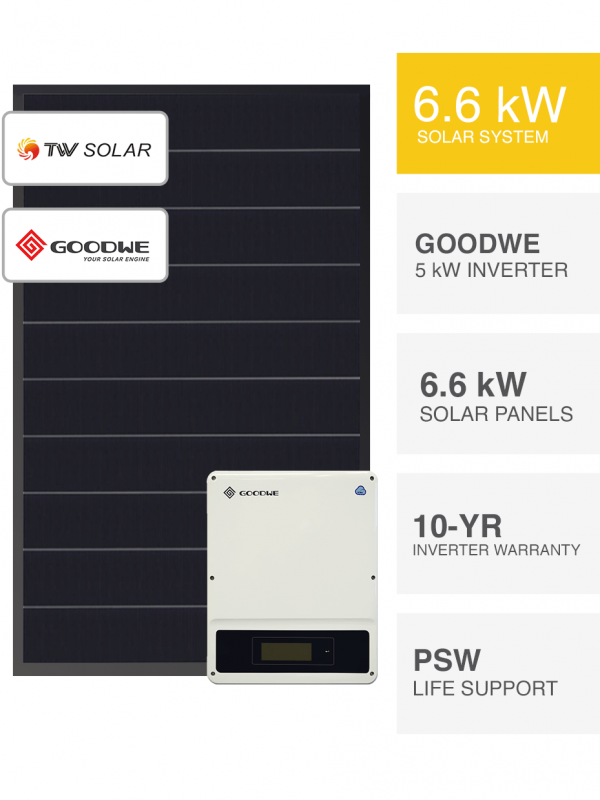 6.6kW Clearance Solar System with Goodwe DNS by PSW Energy
